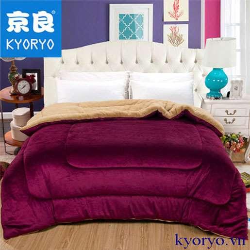 Chăn lông cừu Kyoryo Đỏ Bordeaux Nhật Bản