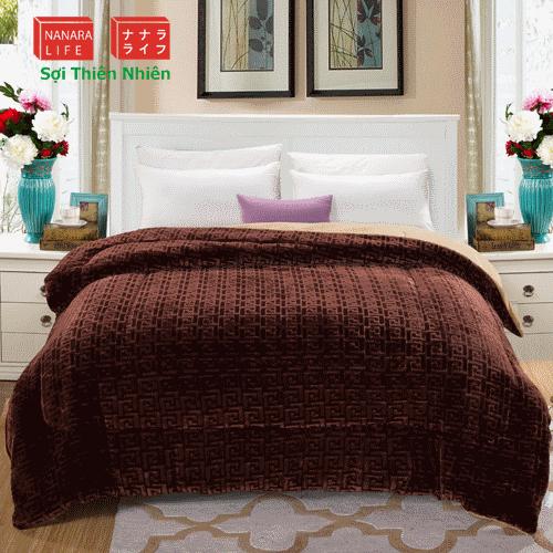 chăn lông cừu nhật bản Nanara Chữ Vạn Màu Cafe 2m x 2m3