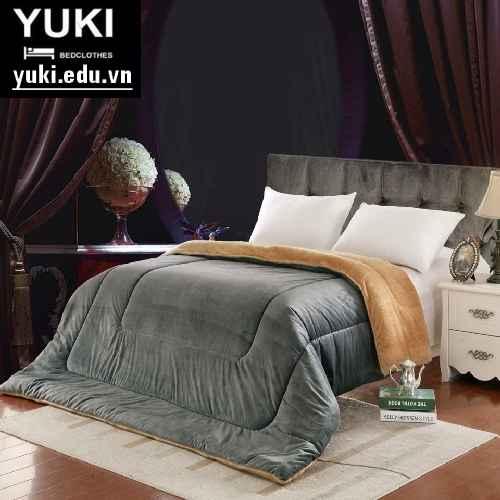 Chăn lông cừu Nhật Bản Yuki màu Xám Chuột ( màu ghi )