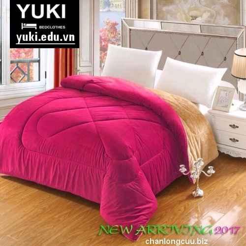 chăn lông cừu nhập khẩu chính hãng Yuki màu hồng tươi