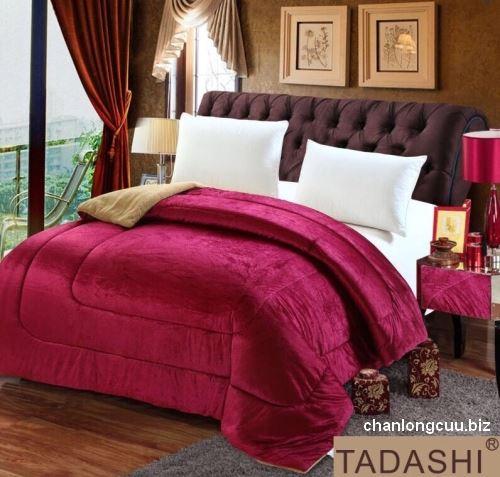 chăn lông cừu TADASHI nhập khẩu nhật bản màu đỏ đô