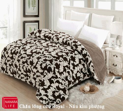 Chăn lông cừu Royal Nanara màu nâu Kim Phượng