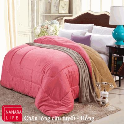 Chăn lông cừu màu hồng Nanara Nhật