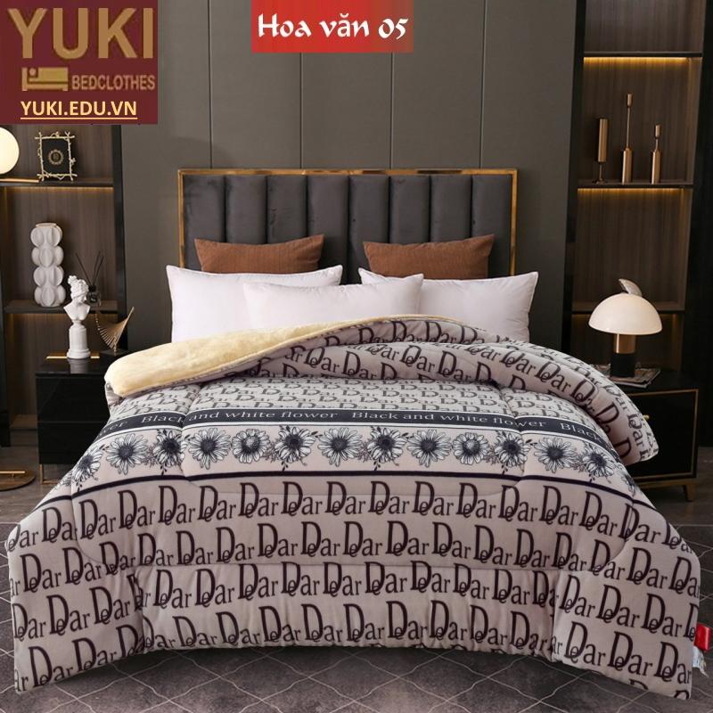 Chăn lông cừu Nhật Yuki Sanding hoa văn 05