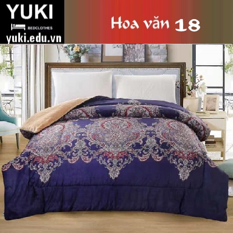 Chăn lông cừu Nhật Yuki Sanding hoa văn 18