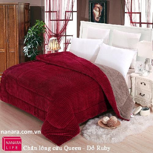 Chăn lông cừu Queen màu Đỏ ruby ( Đỏ Đô ) Nanara Nhật Bản