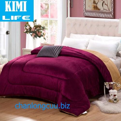 Chăn lông cừu Japan Kimi Life màu Đỏ Đô