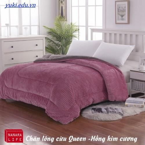 chăn lông cừu queen nanara màu hồng kim cương nhập khẩu nhật bản