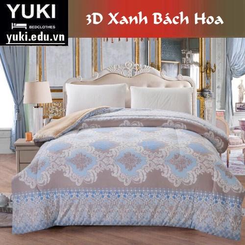Chăn lông cừu yuki 3D Xanh Bách Hoa