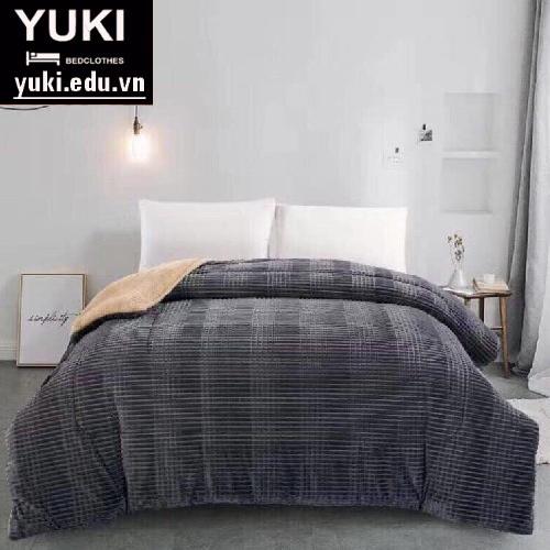 chăn lông cừu yuki japan thu đông màu ghi xám
