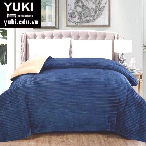 chăn lông cừu yuki japan thu đông màu xanh đậm