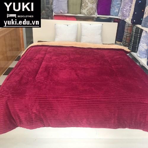 chăn lông cừu yuki Queen đỏ đô nhật bản
