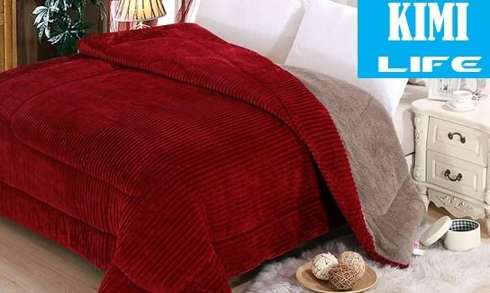 chăn lông cừu kimilife queen đỏ ruby