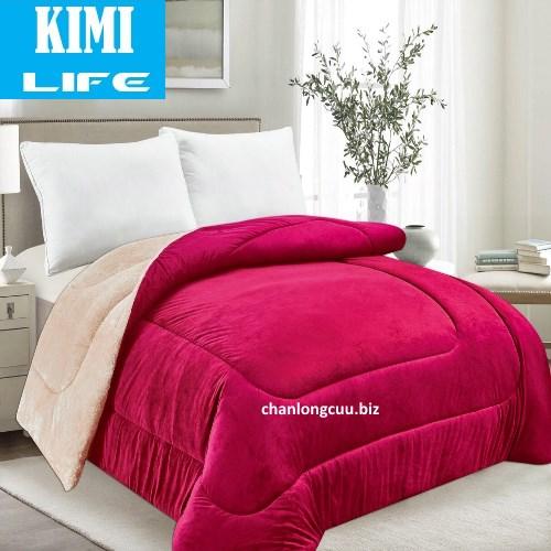 Chăn lông cừu KimiLife tuyết màu đỏ ruby nhật bản