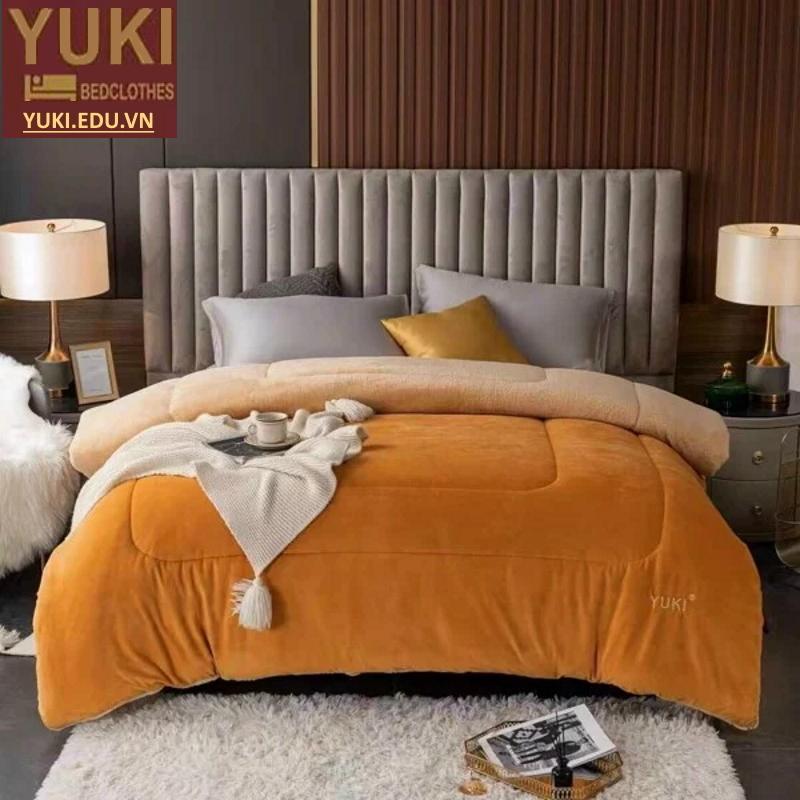 Chăn lông cừu nhật bản Yuki Clasic màu Vàng Mơ