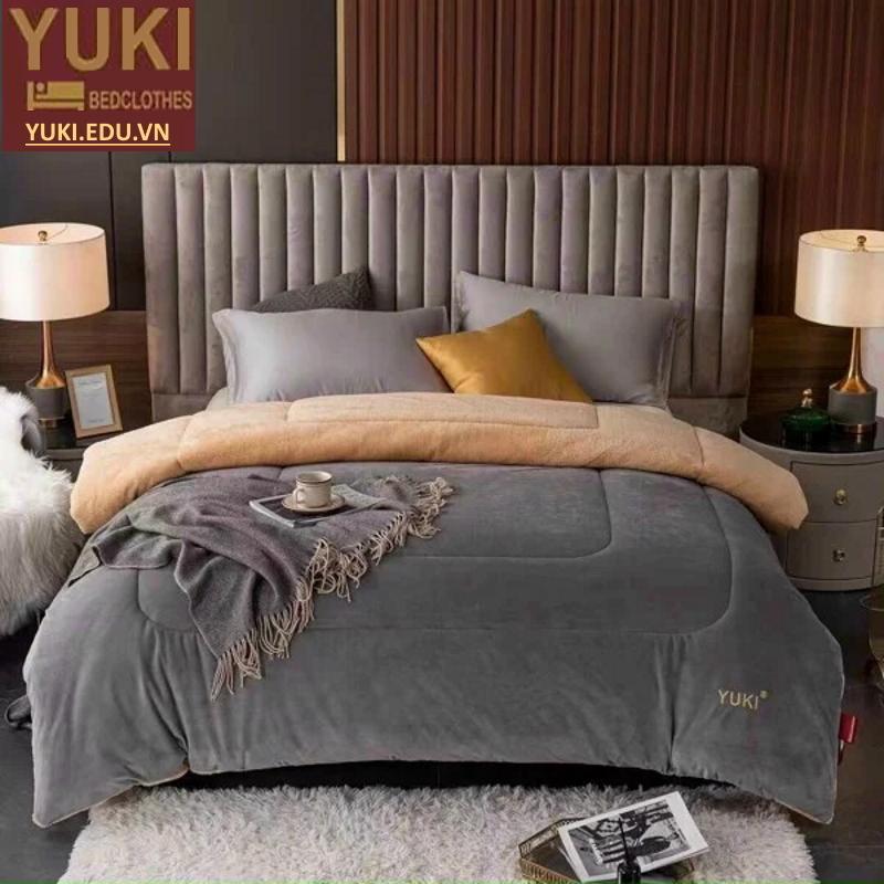 Chăn lông cừu nhật bản Yuki Classic màu Xám
