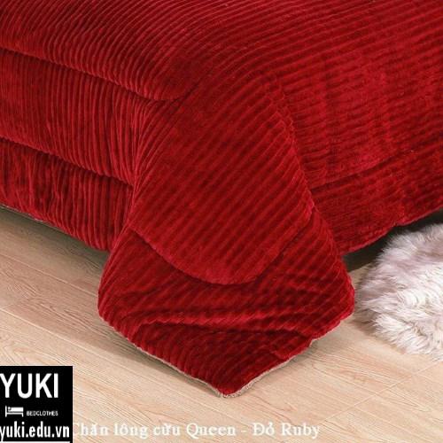 chăn lông cừu queen đỏ rubi yuki nhật bản giá rẻ