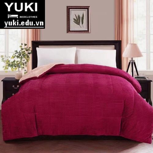 Chăn lông cừu queen đỏ ruby Yuki nhật bản