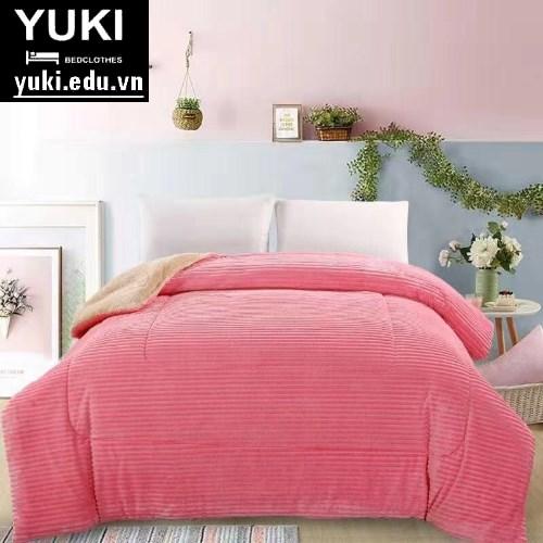 Chăn lông cừu Queen hồng nhạt Yuki Nhật Bản