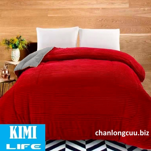 Chăn lông cừu Queen màu đỏ tươi Kimi Life Japan
