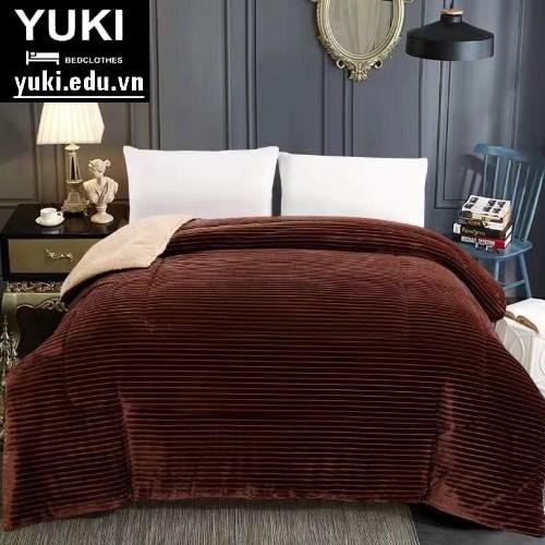 Chăn lông cừu Queen màu Nâu Yuki Nhật Bản