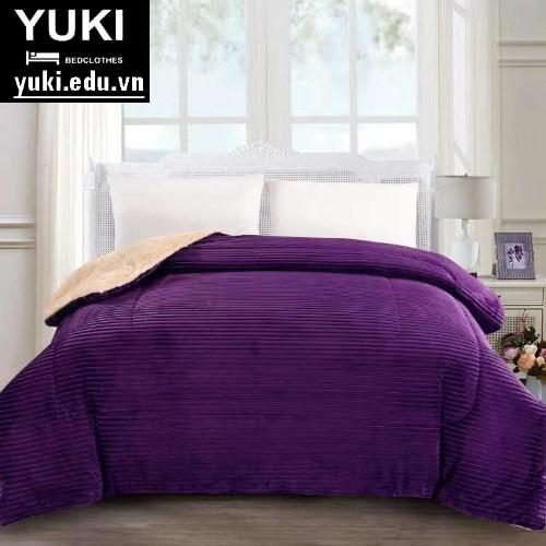 Chăn lông cừu queen màu tím Yuki chính hãng