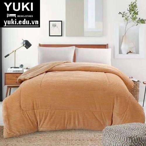 Chăn lông cừu queen vàng kem Yuki Japan