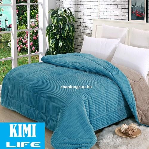 Chăn lông cừu KimiLife Queen màu xanh navi