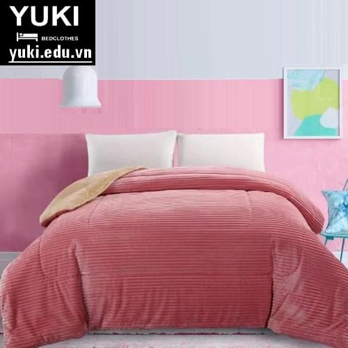 chăn lông cừu yuki queen màu hồng thẩm
