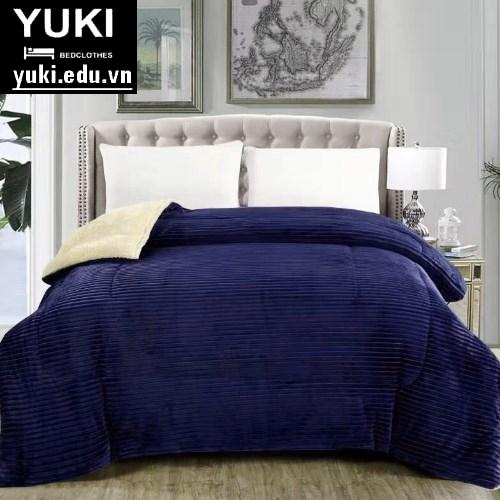 chăn lông cừu yuki queen màu xanh navi
