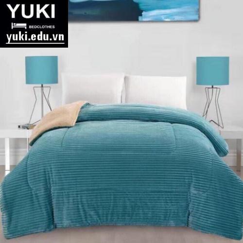 Chăn lông cừu queen Xanh Lục lam Yuki nhật bản