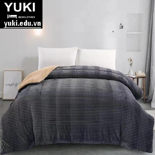 Chăn lông cừu Yuki Queen màu xám chính hãng