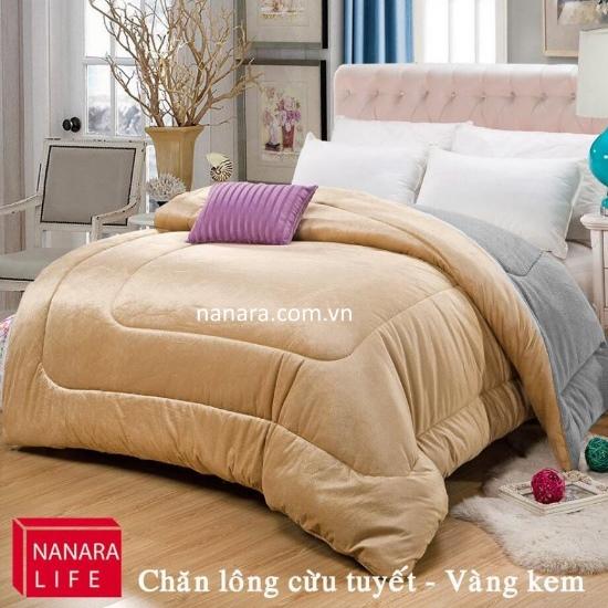 chăn lông cừu nanara japan màu vàng kem