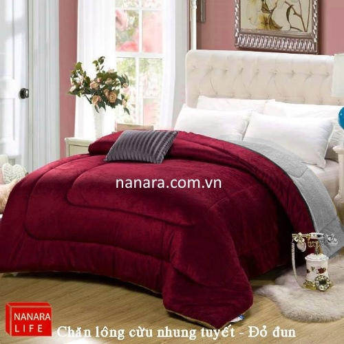 chăn lông cừu nanara nhật bản màu đỏ đun