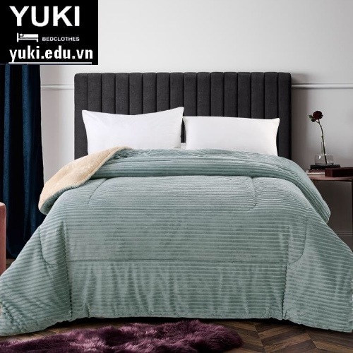 Chăn lông cừu Yuki Queen xanh rêu Nhật Bản